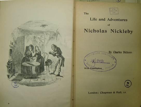 Жизнь и приключения Николаса Никльби Титульный лист