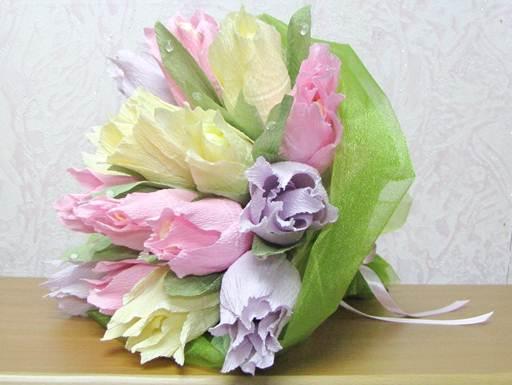 Тюльпаны из гофробумаги пошаговое фото
